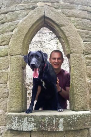 Tom with Greta the dog