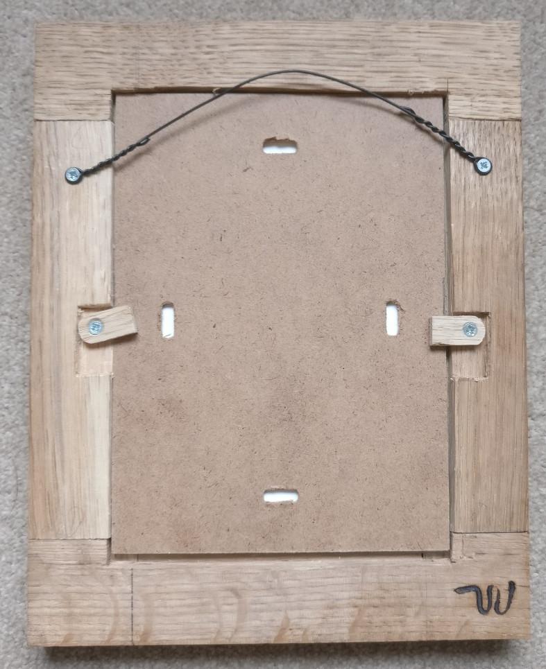 The back of my handmade oak photo frame