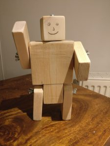The simple wooden robot I designed for the Cubs.
