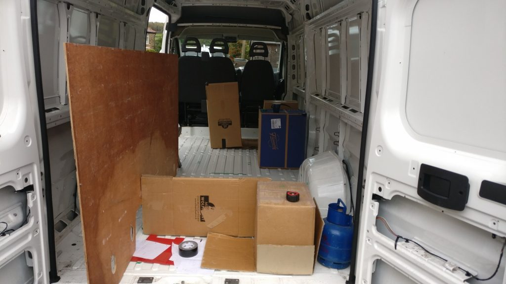 The inside of the van while we were working out the layout