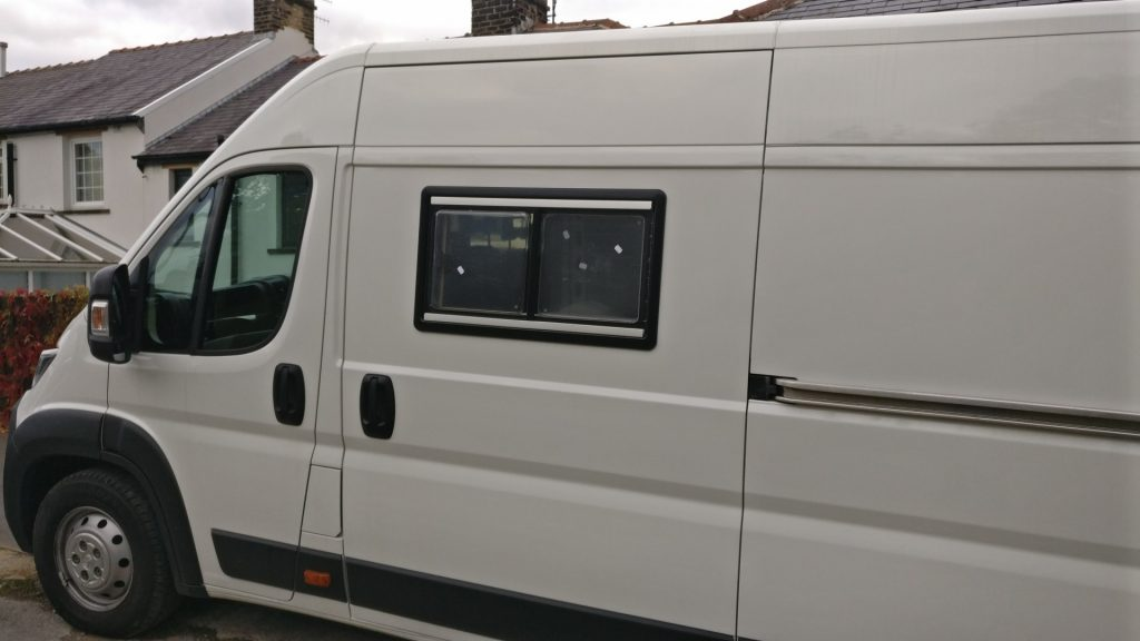 The van with the first window successfully fitted in the sliding door