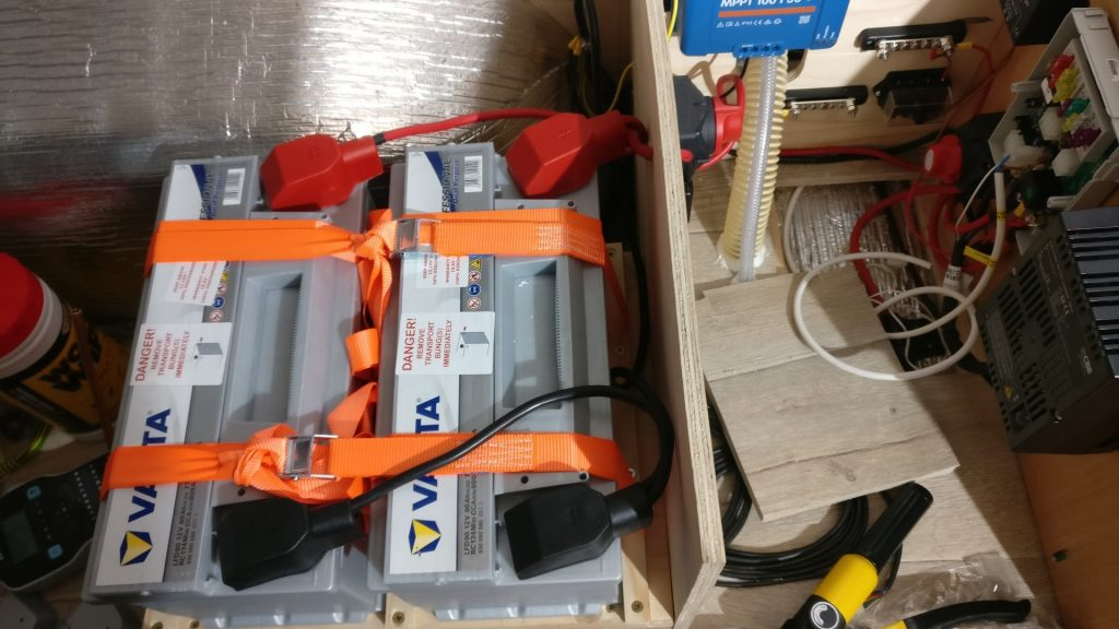 Our two leisure batteries fitted and strapped down, next to the other electrical equipment